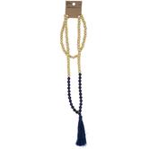 Wood & Lapis Beaded Tassel Necklace