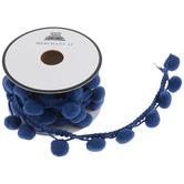 Blue Pom Pom Trim