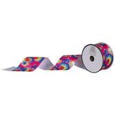 """Pink & Blue Neon Tie-Die Grosgrain Ribbon - 2"""""""