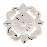 Distressed White Metal Knob on Flower Base
