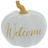 White & Gold Welcome Pumpkin