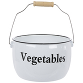 Vegetables White Enamel Metal Pot