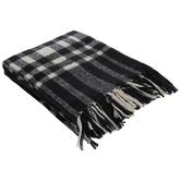 Black & White Plaid Fringe Throw Blanket