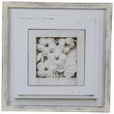 Antique White Flower Tile Framed Wall Decor