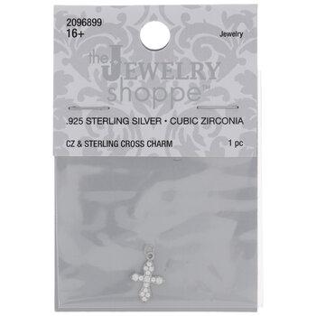 Sterling Silver Cubic Zirconia Cross Charm