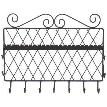 Black Metal Wall Jewelry Holder With Hooks