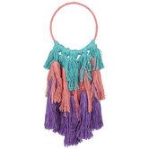 Teal, Coral & Purple Fringe Hoop Wall Decor