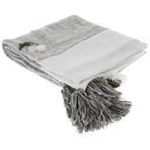 Gray & White Tasseled Throw Blanket
