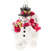 Snowman With Snowflakes Ornament