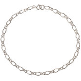 "Sterling Silver Figaro Chain Bracelet - 7 1/2"""