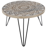 White Medallion Accent Table
