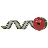 "Green, Black & White Striped Wired Edge Mesh Ribbon - 1 1/2"""