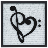 Heart Shaped Music Clef Wood Wall Decor