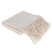 Cream Woven & Hand Knotted Throw Blanket