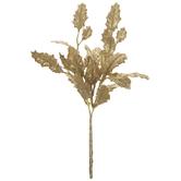 Gold Glitter Holly Leaves Pick