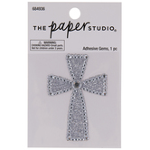Silver Cross Glitter & Rhinestones Sticker