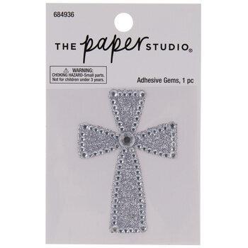 Silver Cross Glitter & Rhinestones Sticker