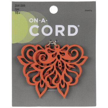 Orange Imitation Leather Filigree Pendants