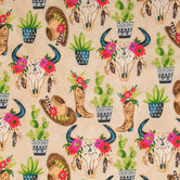 Desert Cowgirl Cotton Calico Fabric
