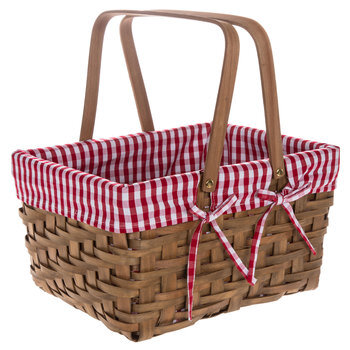 Wood Chip With Buffalo Check Liner Basket
