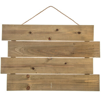 Slatted Wood Panel with Rope Hanger