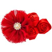 Frayed & Rosette Flower Embellishment