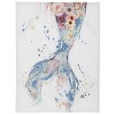 Floral Mermaid Tail Canvas Wall Decor