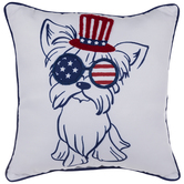 Patriotic Dog With Glasses Pillow