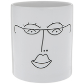White & Black Engraved Face Utensil Crock
