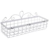 White Swirl Metal Wall Basket - Small