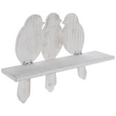 Whitewash Birds Hinged Wood Wall Shelf
