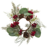 Berries, Cypress, & Pinecone Candle Ring