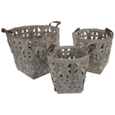 Gray & Brown Woven Wood Basket Set