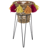 Woven Plant Stand With Pom Poms