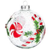 Peppermint & Holly Confetti Ball Ornament
