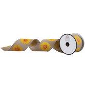 "Sunflower Wired Edge Burlap Ribbon - 2 1/2"""
