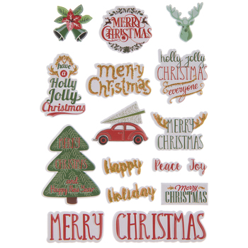 Merry Christmas Puffy Stickers