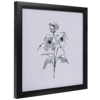 White & Black Floral Wood Wall Decor