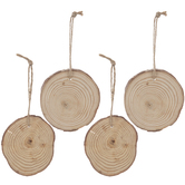 Wood Rounds With Bark & Rope Hangers