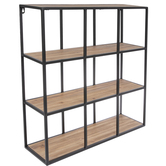 Square Four-Tiered Metal Wall Shelf