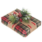 Green Plaid Gift Box With Burlap & Greenery Decor