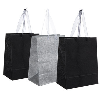 Black & Silver Glitter Gift Bags