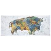 Patchwork Bison Canvas Wall Decor