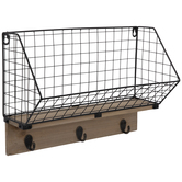 Metal Wire Wall Basket With Hooks