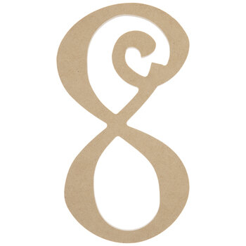"""Curly-Q Wood Number 8 - 8"""""""