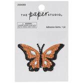 Orange Butterfly Rhinestone Sticker