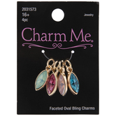 Pointed Oval Rhinestone Charms