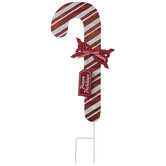 Happy Holidays Candy Cane Metal Garden Stake