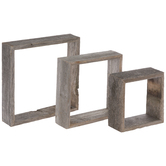 Gray Square Wood Wall Shelf Set