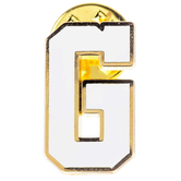 White Letter Metal Pin - G